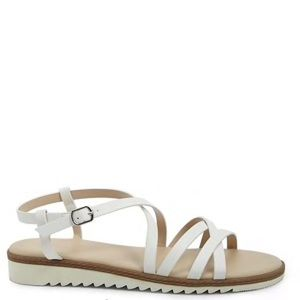Strap white leather sandals
